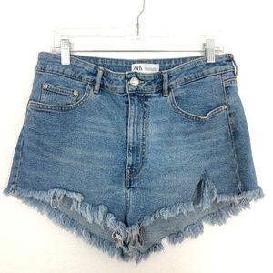 Zara High Rise Cheeky Denim Shorts